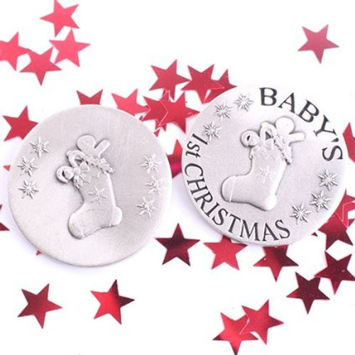 Exclusive Pewter Baby's 1st Christmas Coin - Stocking Design