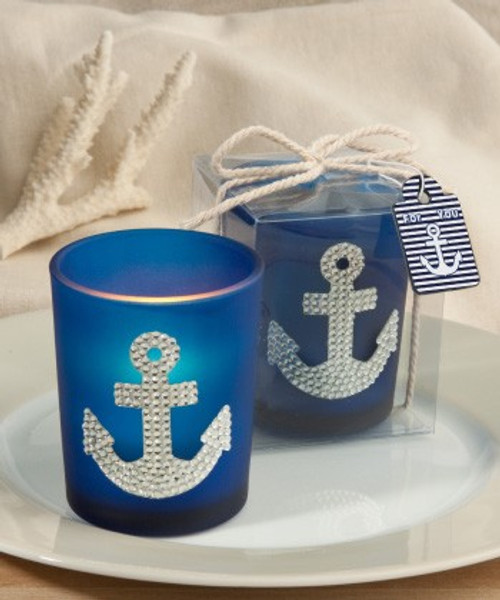 Anchor Designed Bling Votive Candle Blue