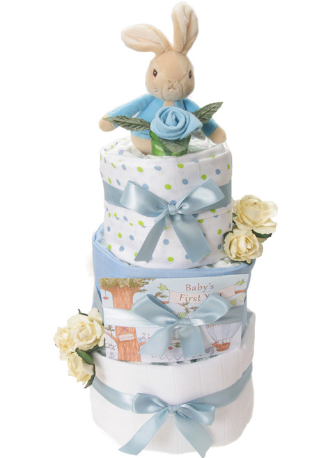 3 Tier Welcome Little One Peter Rabbit Nappy Cake