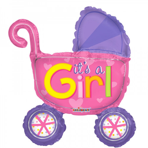 It's A Girl Pram Airfilled Foil Balloon (14in)