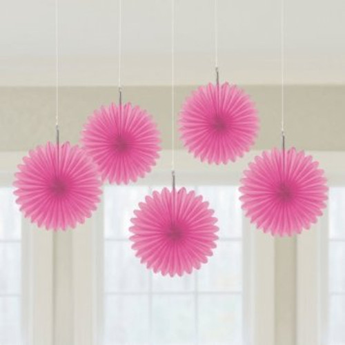 Mini Hot Pink Hanging Fan Decorations (3)