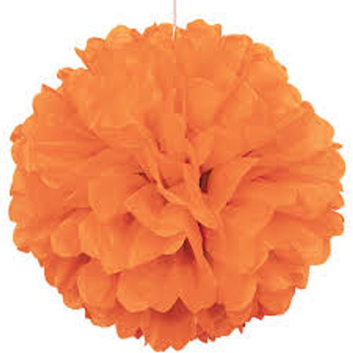 Paper Puff Ball Decoration In Orange (1)