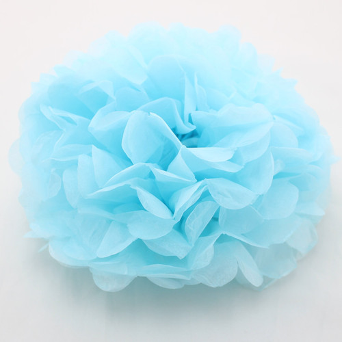 Paper Puff Ball Decoration In Pale Blue (1)