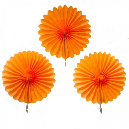 Mini Orange Hanging Fan Decorations (3)