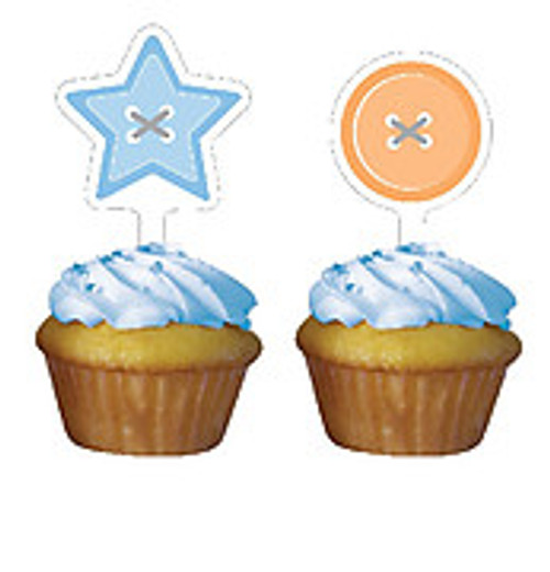 Cute as a Button Boy Cupcake Toppers (12)