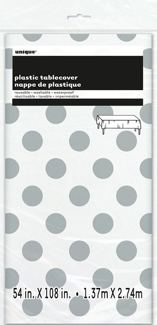 Silver polka dot tablecover