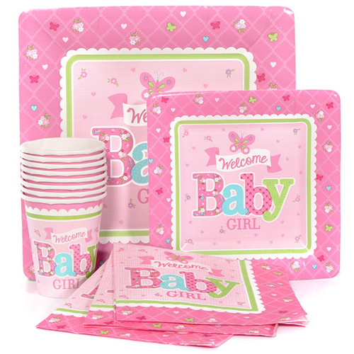 Welcome Baby Girl Basic Party Pack (8 Guests)