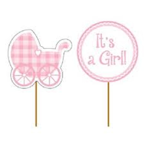 Baby Girl Gingham Pink Food Cake Pick