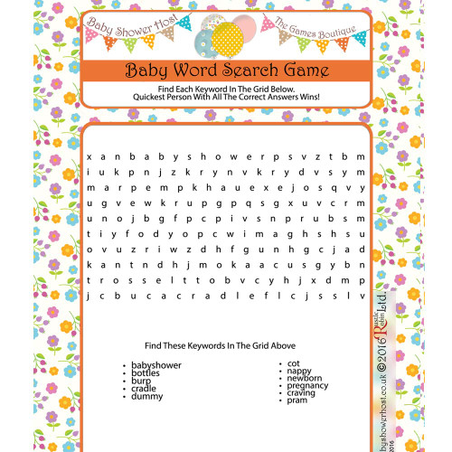 Baby Shower Word Search Floral Design (16)