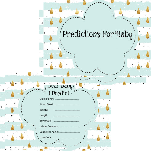 Baby Prediction Cards Mint Raindrop (16)