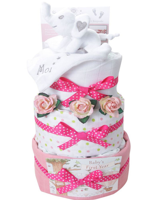 3 Tier Baby Moi Swaddle Girl Nappy Cake