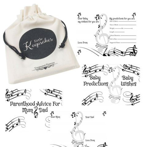 Baby Prediction, Wishes and Parenthood Advice Cards Keepsake Bag Musical(10 Guests)
