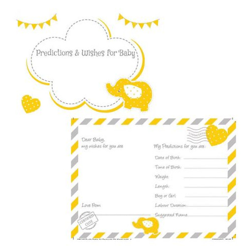 Yellow Elephant Baby Prediction & Wishes Cards (16)