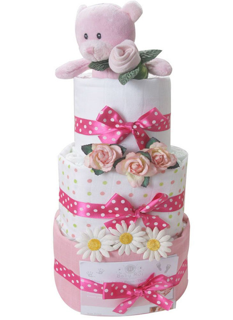 3 tier bear girl swaddle nappy cake