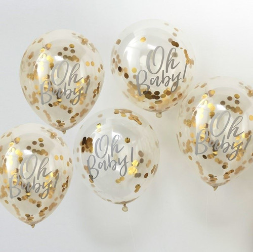 Oh Baby! gold printed confetti balloons (5)