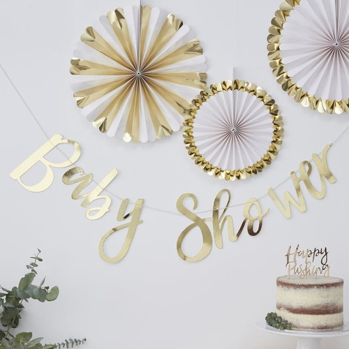 Oh Baby! gold foil baby shower bunting