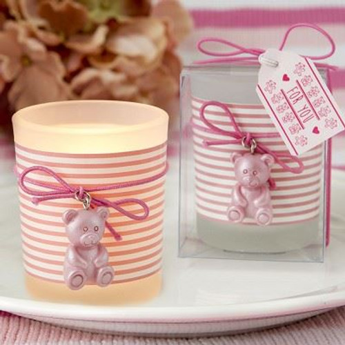 Pink Teddy Bear Themed Frosted Glass Candle