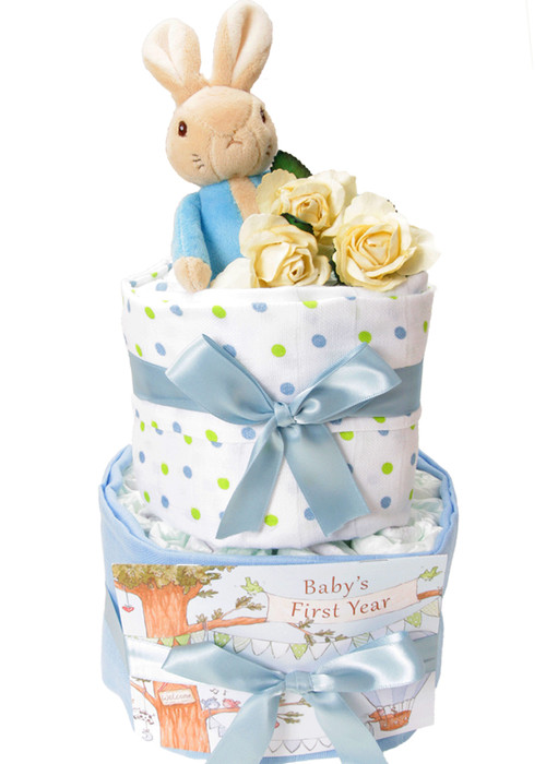 2 Tier Peter Rabbit Swaddle Nappy Cake