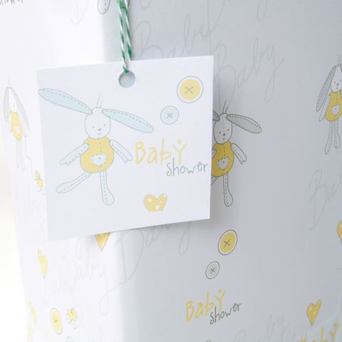 Baby Shower Gift Wrapping Paper Yellow Bunny 4 Sheets Gift Tags