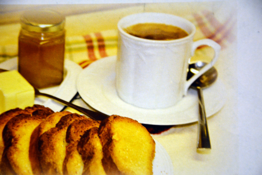 Toasts can't be separated from a delicious organic coffee of St Roger Abbey