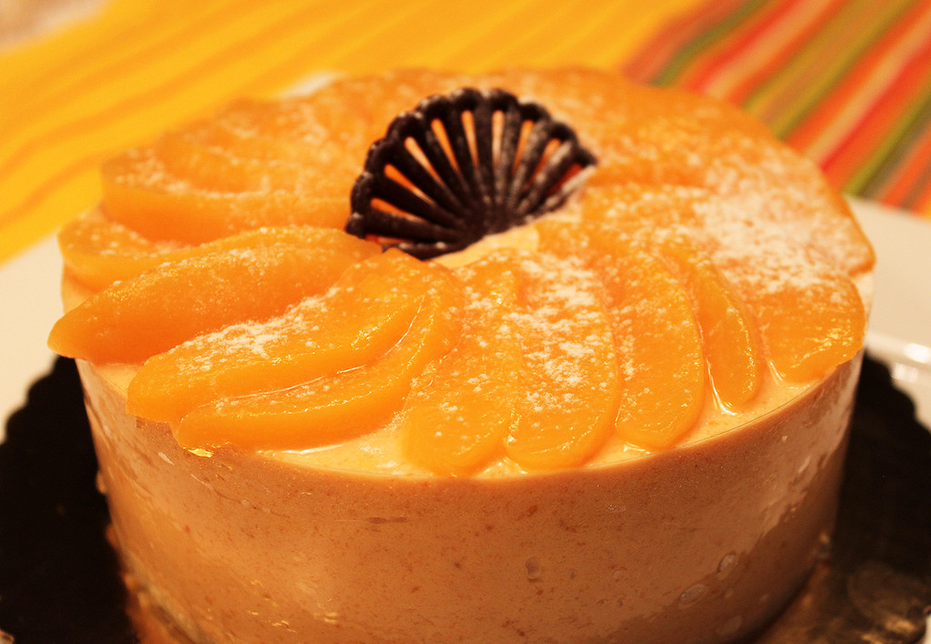 STORE-PICK-UP: Peach Bavarois Cake, size is your choice, below.