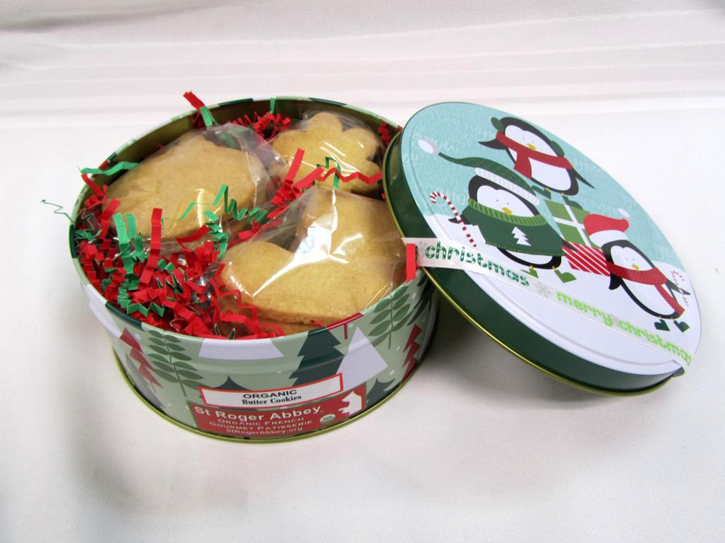 SHIPPING: Medium Round Box of Organic Butter Cookies