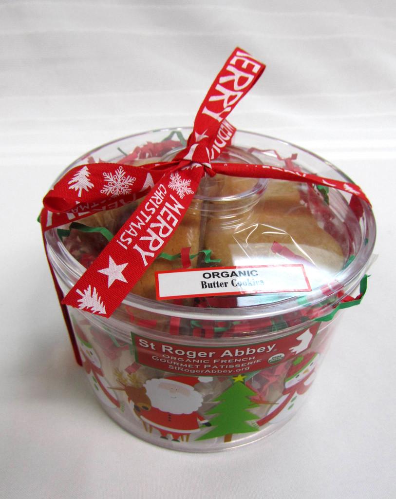 SHIPPING: Round Santa & Snowman Box of Organic Butter Cookies