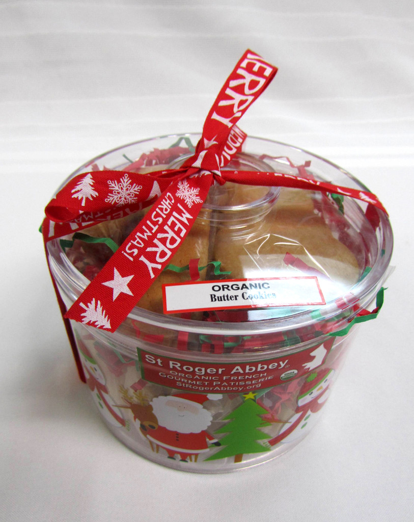 PICK-UP-ONLY: Round Santa & Snowman Box of Organic Butter Cookies