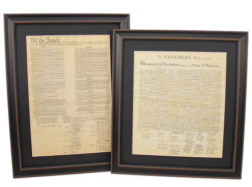 Framed Constitution & Declaration of Independence Set with Black Matte