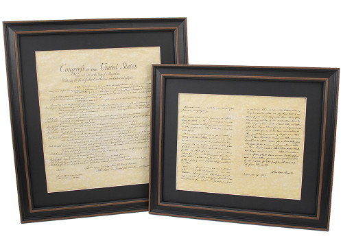 Framed Bill of Rights & Lincoln's Gettysburg Address Set with Black Matte