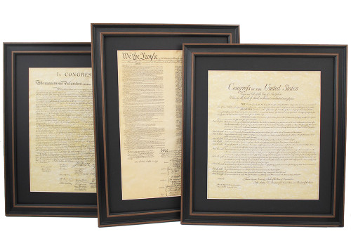 Set of 3! Framed and Matted Constitution, Bill of Rights and Declaration of Independence