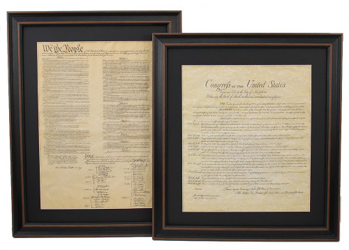 Framed United States Constitution and Bill of Rights with Mat