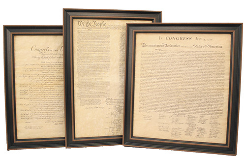 Framed Constitution, Declaration of Independence & Bill of Rights Set