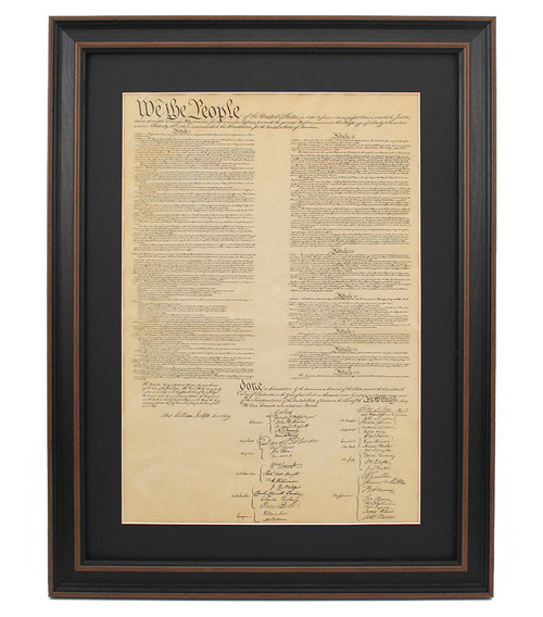 Poster Size Framed United States Constitution with Black Matte