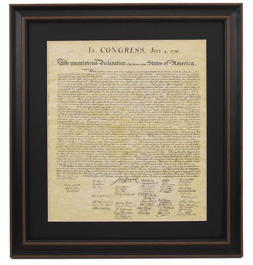 Poster Size Framed Declaration of Independence with Black Matte