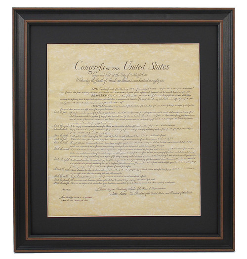 Poster Size Framed Bill of Rights with Black Matte