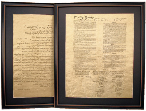 Poster Size Framed United States Constitution & Bill of Rights with Mat Set
