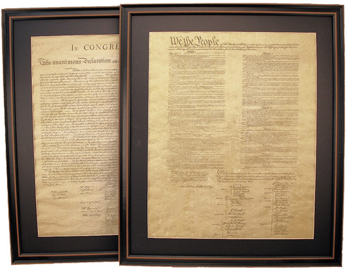 Poster Size Framed Constitution & Declaration of Independence Set with Black Matte