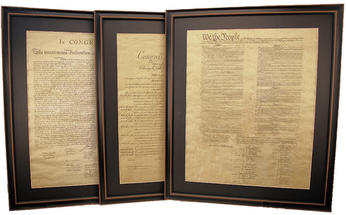 Poster Size Framed Constitution, Bill of Rights & Declaration of Independence Set with Mat