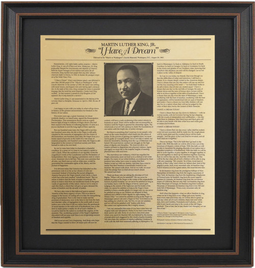 "Framed Martin Luther King Jr. ""I Have a Dream"" Speech"