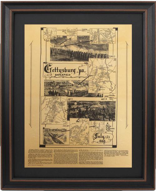 Framed Gettysburg Battlefield Map with Mat