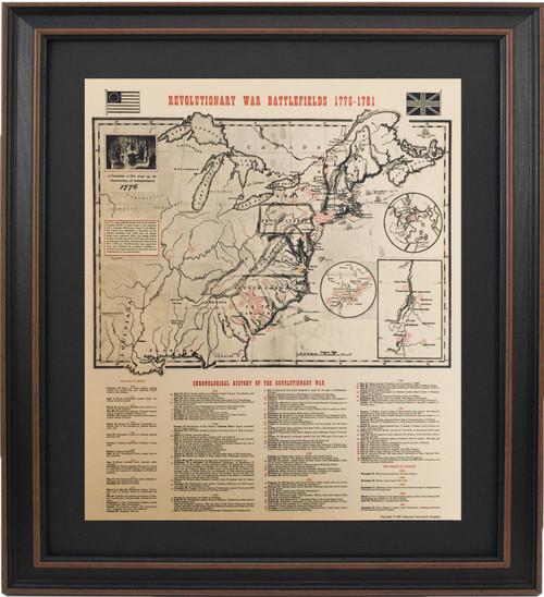Framed Revolutionary War Battlefields Map 1775-1781 with Mat
