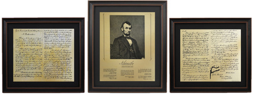 Framed Abraham Lincoln Portrait & Emancipation Proclamation Set with Black Matte