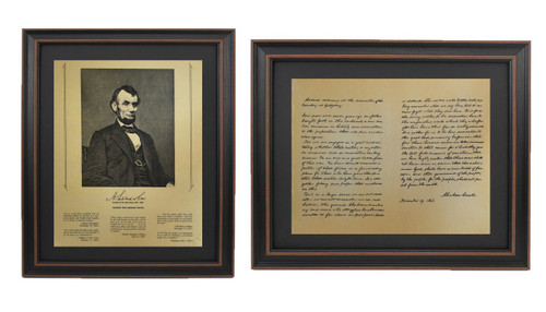 Framed Abraham Lincoln Portrait & Gettysburg Address Set with Black Matte