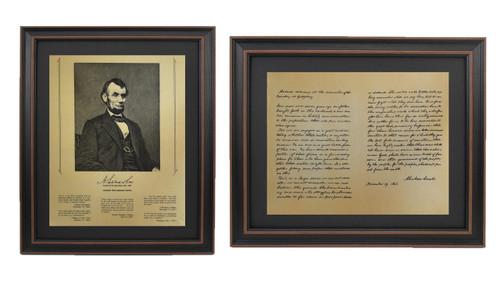 Framed Abraham Lincoln Portrait & Gettysburg Address Set with Mat
