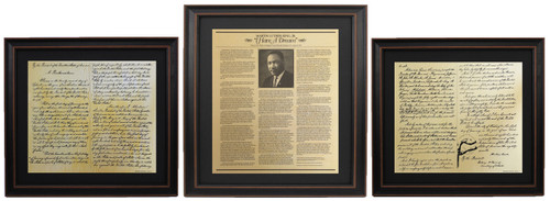 "Framed Martin Luther King Jr. ""I have a dream"" Speech and Emancipation Proclamation Set with Black Matte"