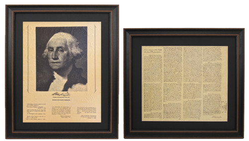 Framed George Washington Portrait & Washington's First Inaugural Address Set with Black Ma