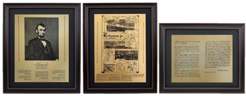 Framed Abraham Lincoln Portrait,  Gettysburg Battlefield Map & Gettysburg Address Set with Mat