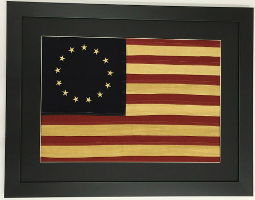 Framed American Flag - Betsy Ross Tea Stained