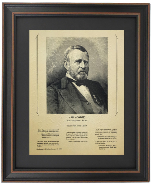 Framed Ulysses S. Grant Portrait & Quotes